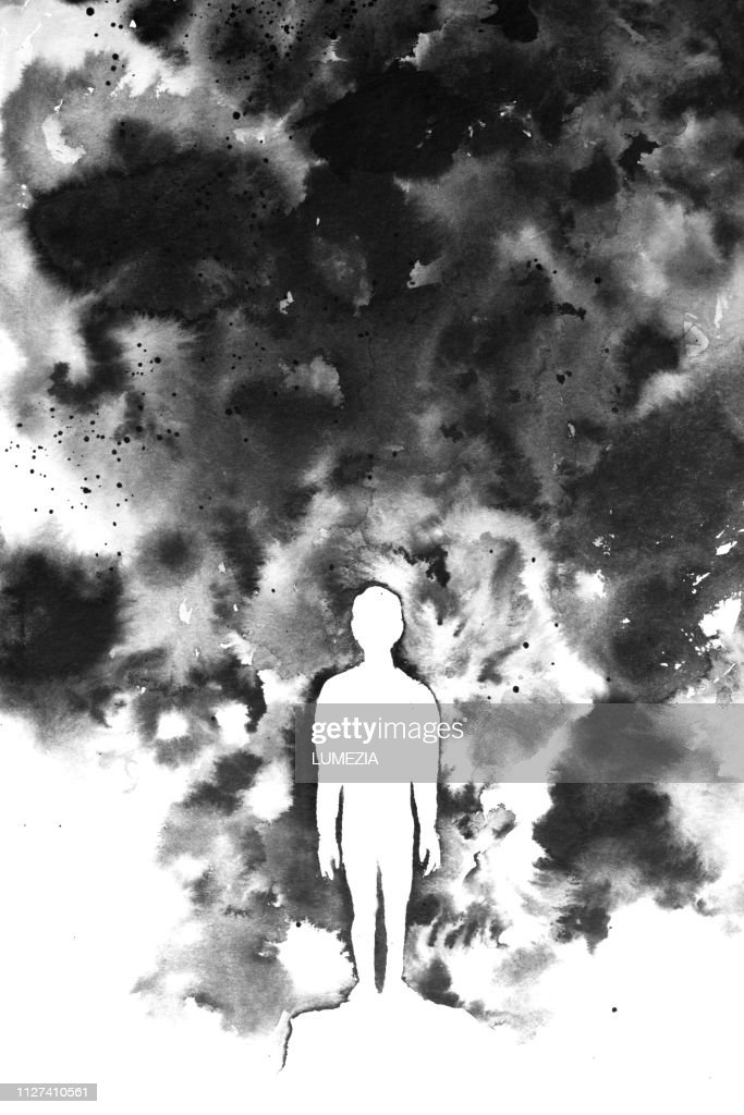 Hand made black and white ink painting using short brushstrokes and highlighting the silhouette of a person or child against a dark backdrop : stock illustration