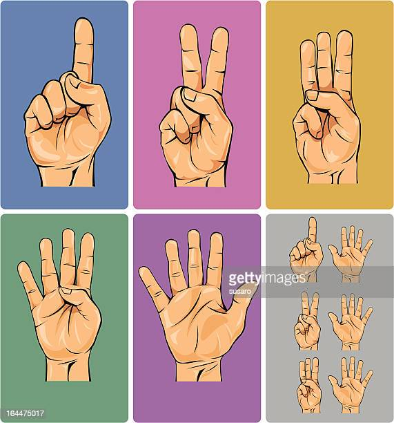 stockillustraties, clipart, cartoons en iconen met hand numbers - 6 7 jaar