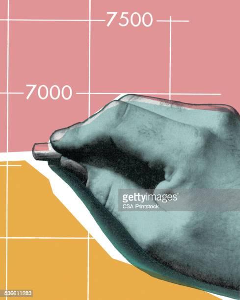 hand on graph - architect stock illustrations