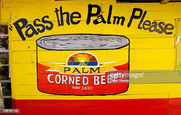 hand painted advertisement for corned beef. - pacific islands stock illustrations