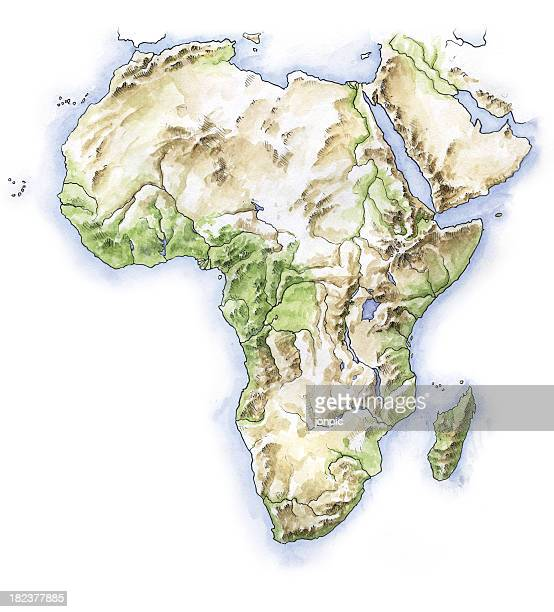 hand painted map of africa - madagascar stock illustrations, clip art, cartoons, & icons