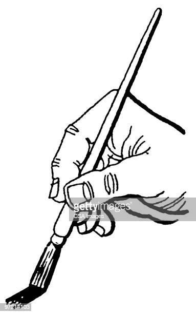 illustrazioni stock, clip art, cartoni animati e icone di tendenza di hand painting with brush - pittore
