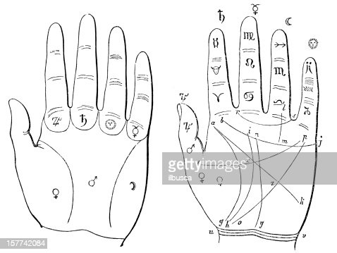 hand palmreading palmistry chiromancy diagram stock illustration - getty  images
