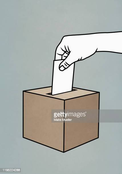 hand placing ballot in box - paperwork stock illustrations