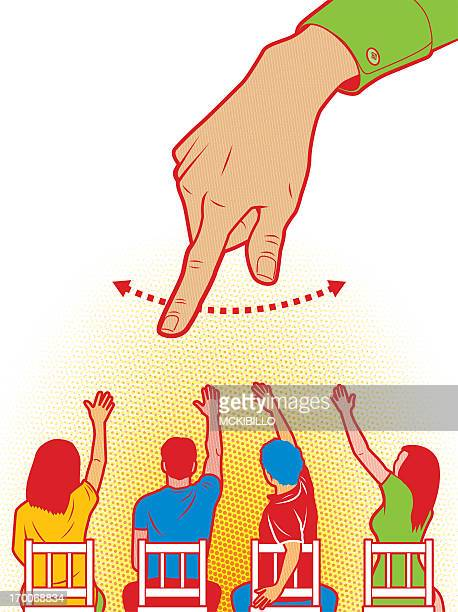 A hand pointing at students