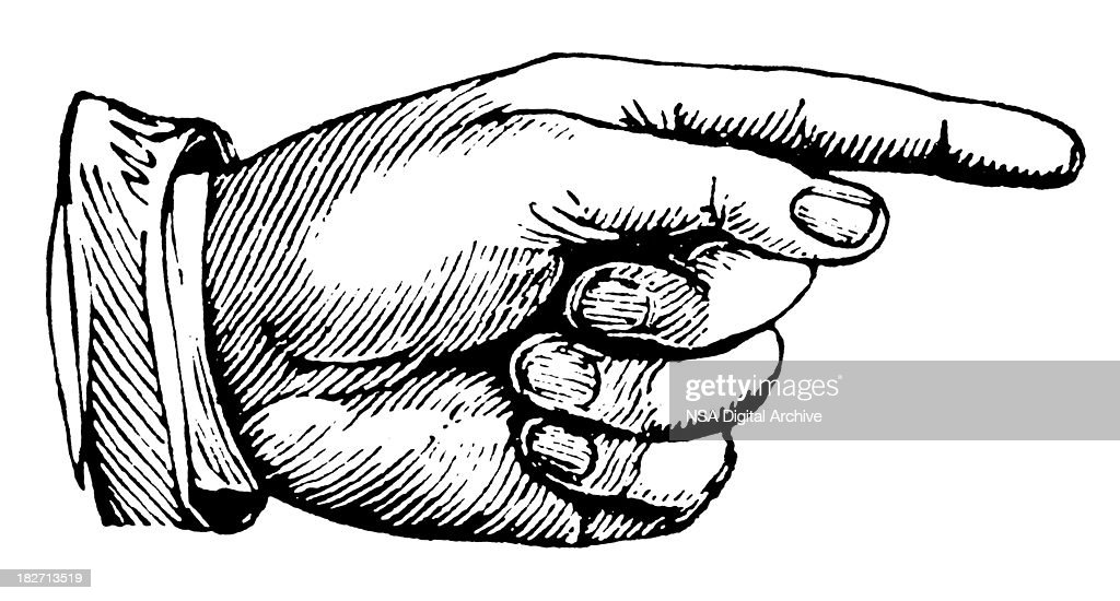 Hand pointing right | Antique Design Illustrations : stock illustration