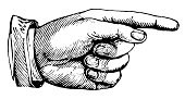 Hand pointing right | Antique Design Illustrations