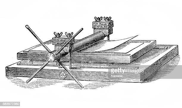 hand printing press - history stock illustrations, clip art, cartoons, & icons