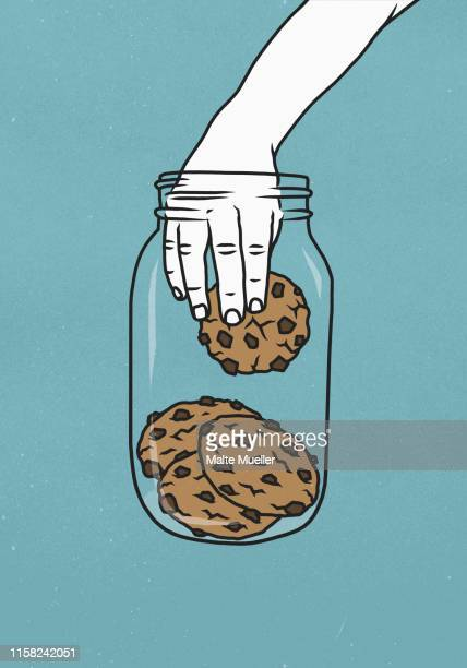 hand reaching into cookie jar - unhealthy eating stock illustrations