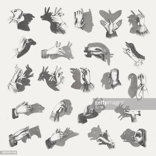 Hand shadow puppets, wood engravings, published in 1884
