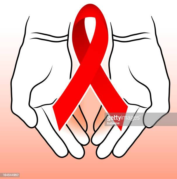 De mão gestos com sinal vermelho Fita de Consciencialização contra a SIDA