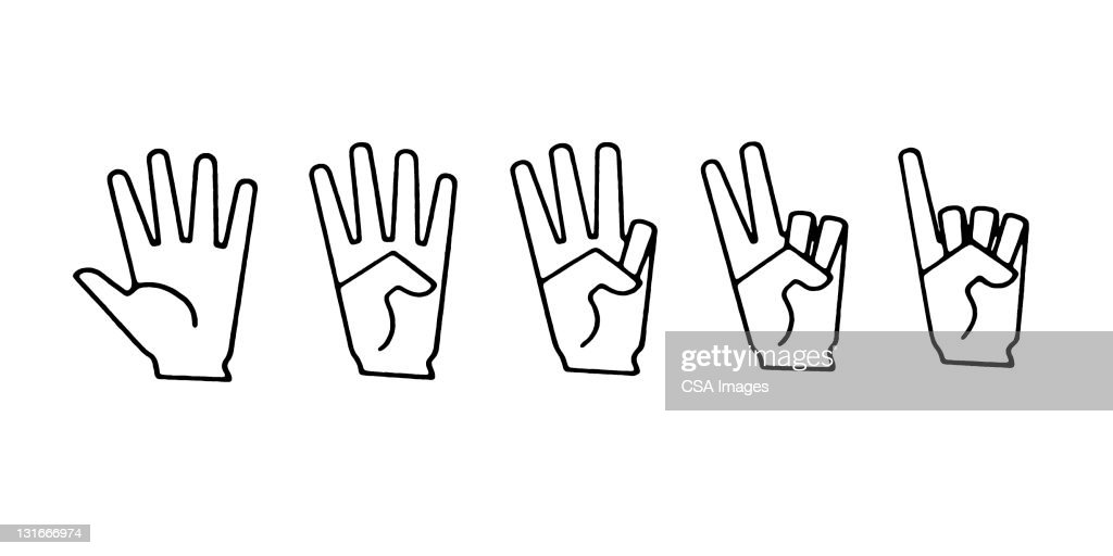 Hand Signs for 1,2,3,4,5 : stock illustration