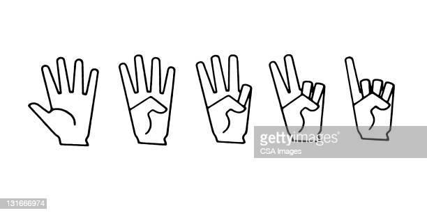 Hand Signs for 1,2,3,4,5