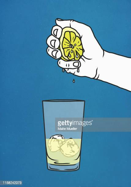 hand squeezing fresh lime into glass with ice - food and drink stock illustrations
