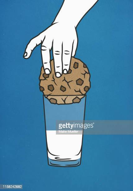 ilustrações, clipart, desenhos animados e ícones de hand trying to dip large cookie into glass of milk - dipping