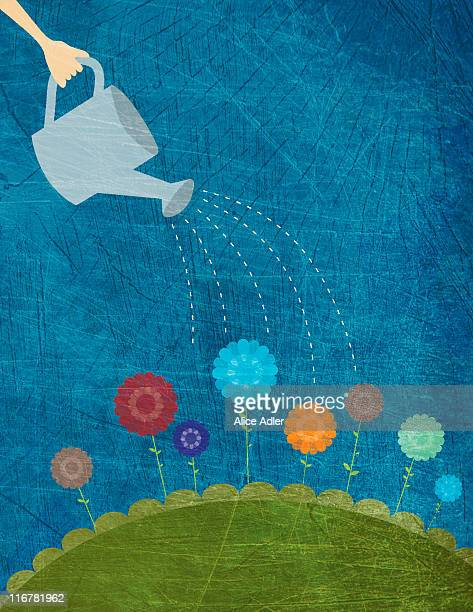 a hand using a watering can to water flowers - watering can stock illustrations, clip art, cartoons, & icons