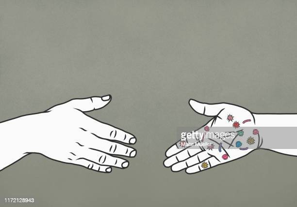 hand with bacteria reaching to shake hands - unrecognisable person stock illustrations