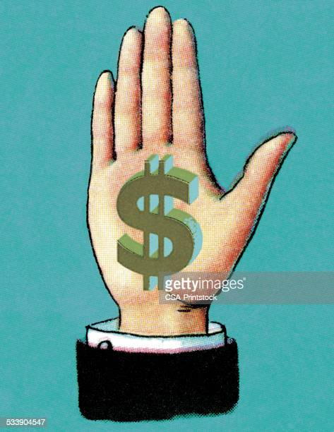 hand with dollar sign on palm - paycheck stock illustrations, clip art, cartoons, & icons