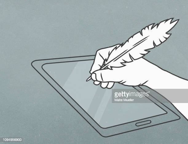 hand with feather quill pen writing on digital tablet - writing stock illustrations