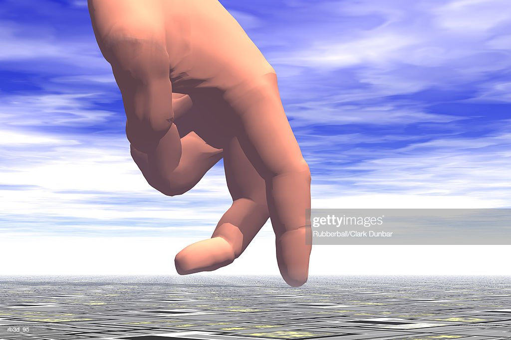 hand with fingers walk across land with blue sky in the background : Stockillustraties