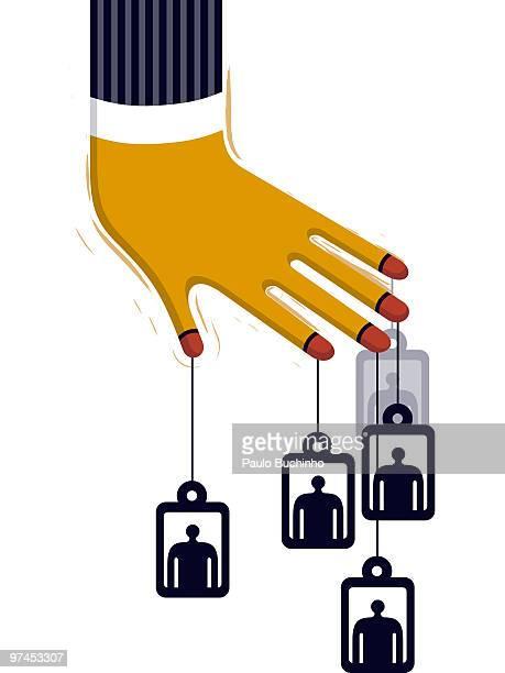 ilustrações de stock, clip art, desenhos animados e ícones de a hand with four tags with figures on them hanging from its fingers - buchinho