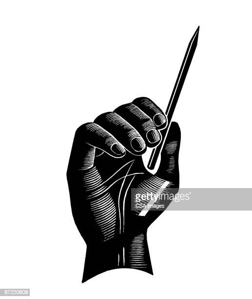 hand with pencil - writing stock illustrations
