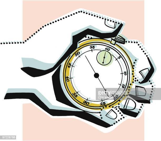 hand with stopwatch - stoppuhr stock-grafiken, -clipart, -cartoons und -symbole