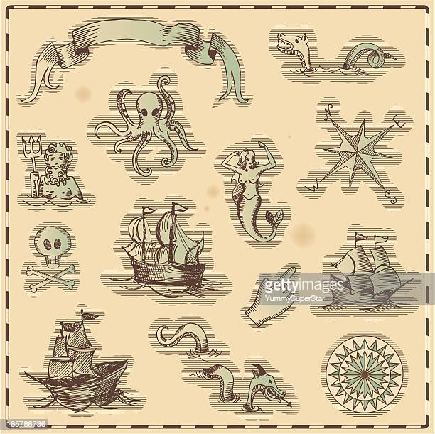 hand-drawn antique ocean navigation  icons - pirate boat stock illustrations, clip art, cartoons, & icons