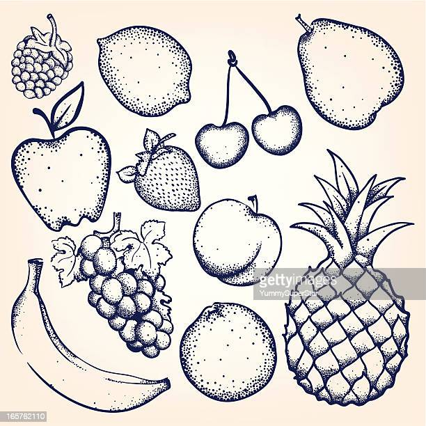 hand-drawn fruits and berries - raspberry stock illustrations, clip art, cartoons, & icons