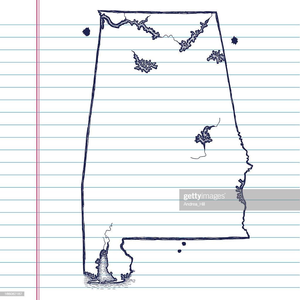 Hand-Drawn Map of Alabama