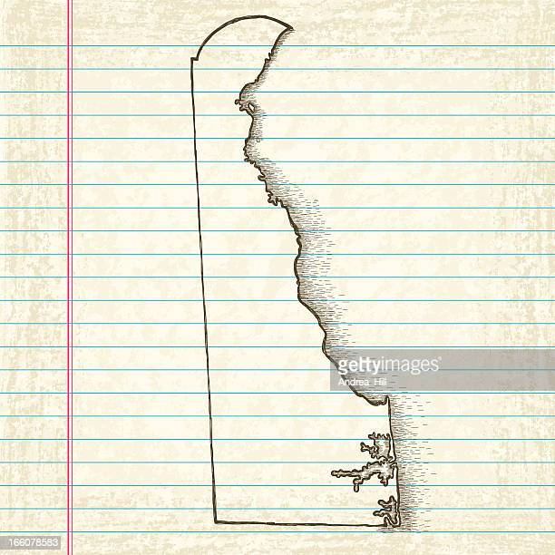 hand-drawn map of delaware - delaware us state stock illustrations, clip art, cartoons, & icons