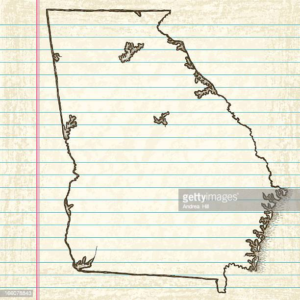 hand-drawn map of georgia - georgia us state stock illustrations, clip art, cartoons, & icons