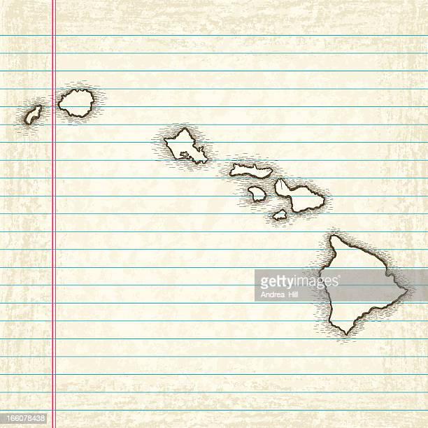 hand-drawn map of hawaii - big island hawaii islands stock illustrations