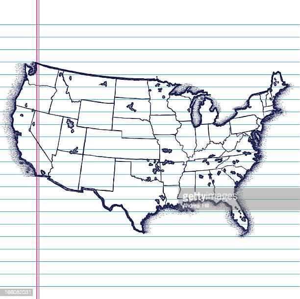 ilustraciones, imágenes clip art, dibujos animados e iconos de stock de dibujados a mano mapa de los estados unidos - gulf coast states