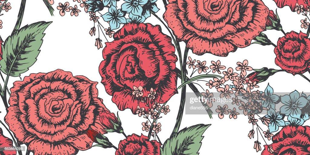 手描きバラ柄をバナーします。 : ストックイラストレーション