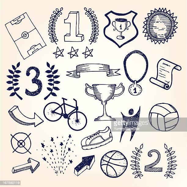 Croquis dessinés à la main doodle illustration de sport