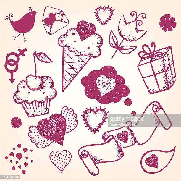 illustrations, cliparts, dessins animés et icônes de dessinés à la main de saint-valentin ensemble - cupidon humour