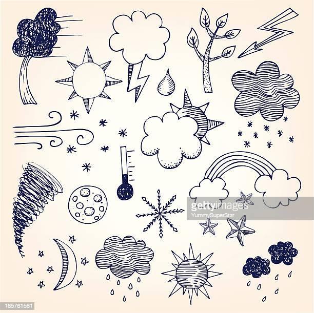 hand-drawn wetter einstellen - wetter stock-grafiken, -clipart, -cartoons und -symbole
