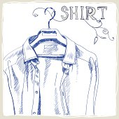 Hand-drawn white men's shirt