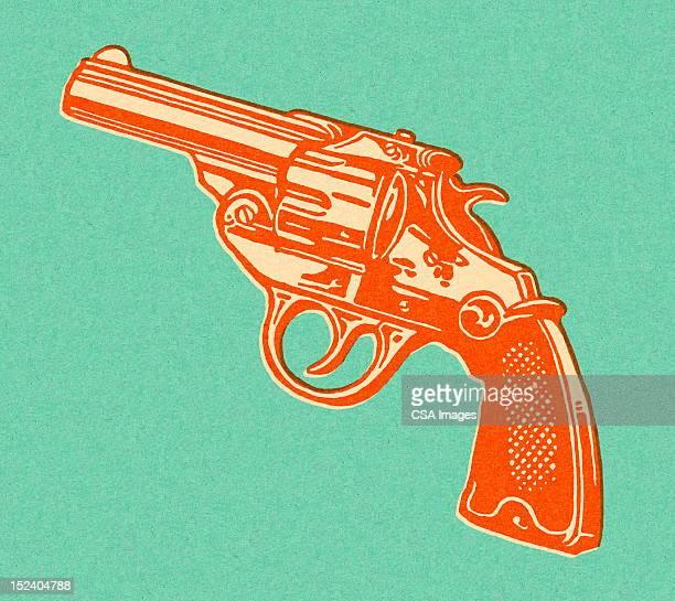 ilustrações de stock, clip art, desenhos animados e ícones de revólver - arma de fogo