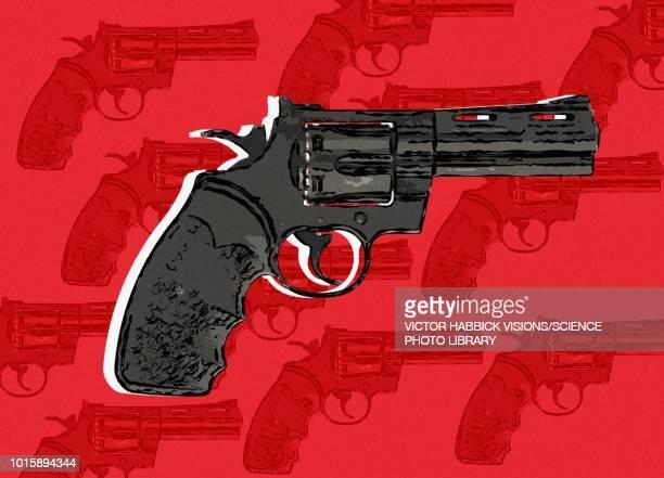 handgun, illustration - victor habbick stock illustrations