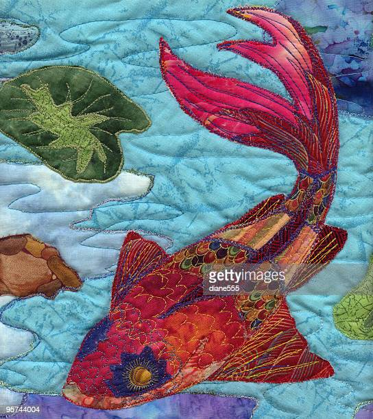 handmade quilted koi fish artwork photograph - quilt stock illustrations, clip art, cartoons, & icons