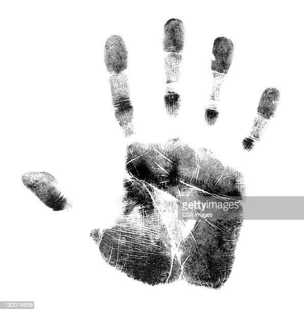 ilustraciones, imágenes clip art, dibujos animados e iconos de stock de handprint - huella dactilar