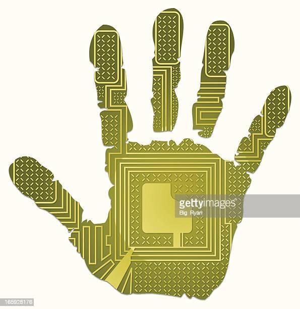 ilustraciones, imágenes clip art, dibujos animados e iconos de stock de rfid huella - huella de mano