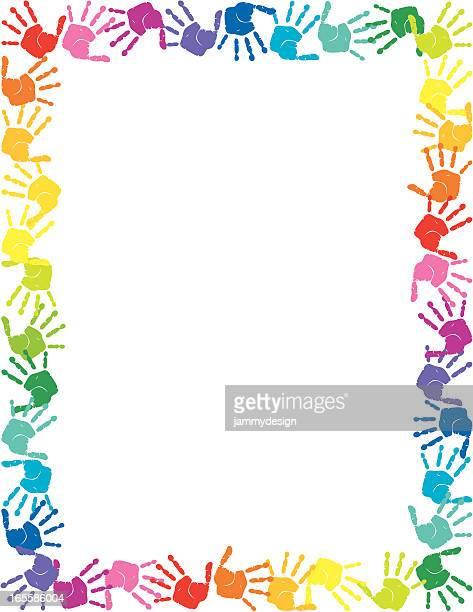 ilustraciones, imágenes clip art, dibujos animados e iconos de stock de handprints frontera - huella de mano