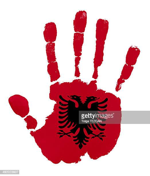 Handprints con l'Albania bandiera