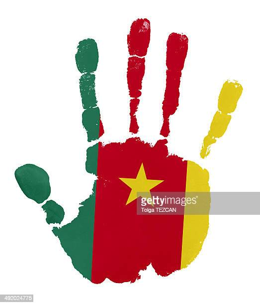 handprints with cameroon flag - cameroon stock illustrations, clip art, cartoons, & icons