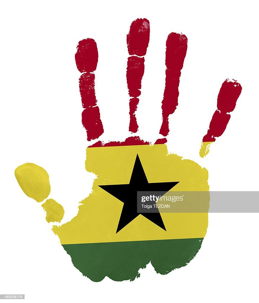 Handprints with Ghana flag : Stock Illustration