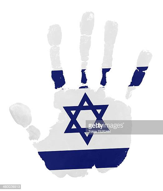 Handprints with Israel flag