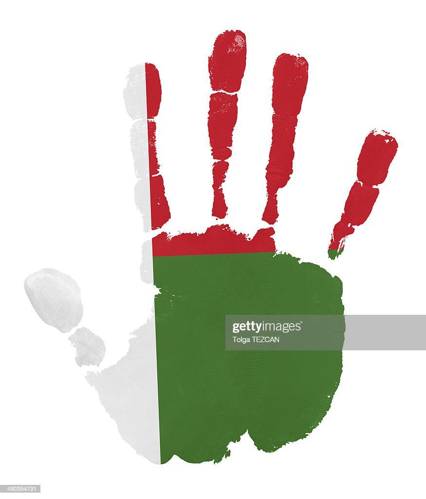 Handprints with Madagascar flag : Stock Illustration